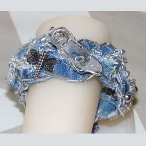 Recycled Denim and Crystal Cuff Bracelet